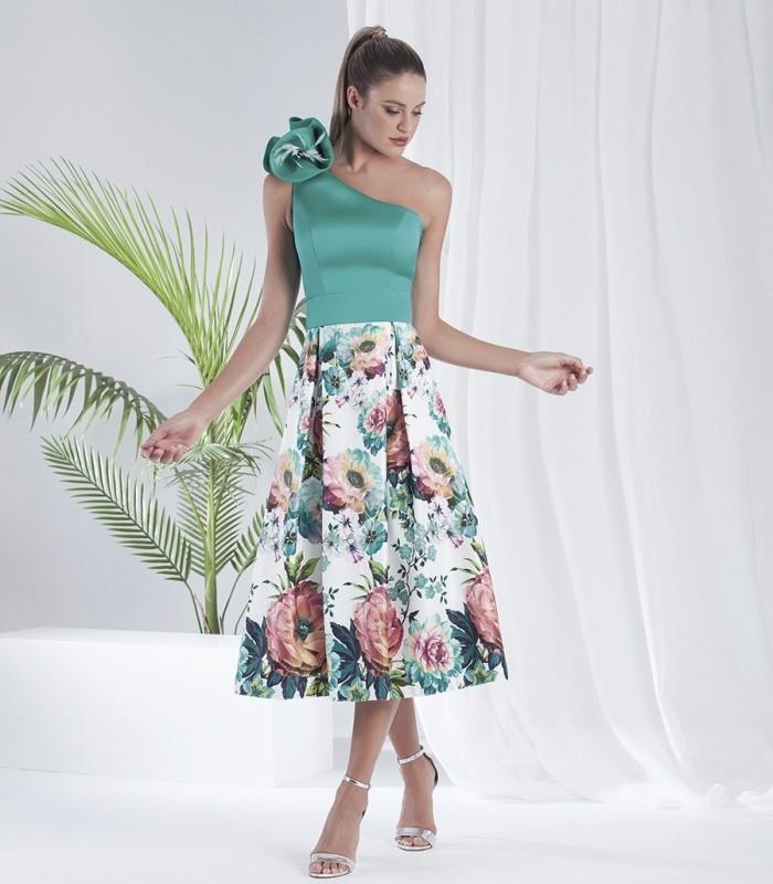 Vestido Midi falda estampada y top asimétrico