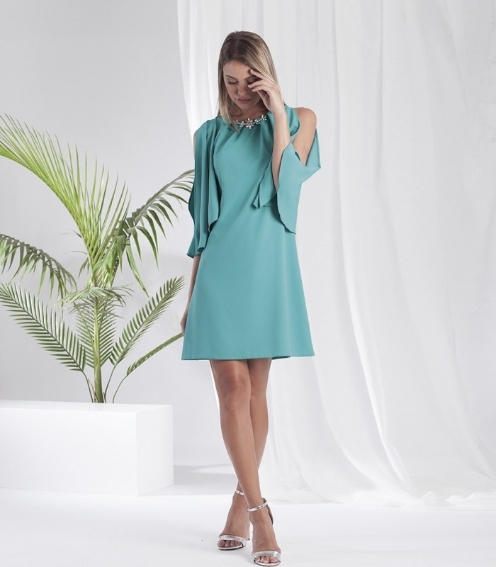 Evasé dress with semi-open sleeves