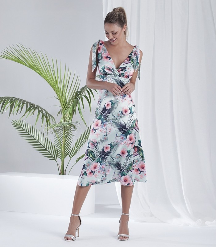Printed midi dress with bow straps