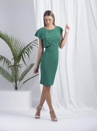 Green straight cut dress with ruffle on one sleeve