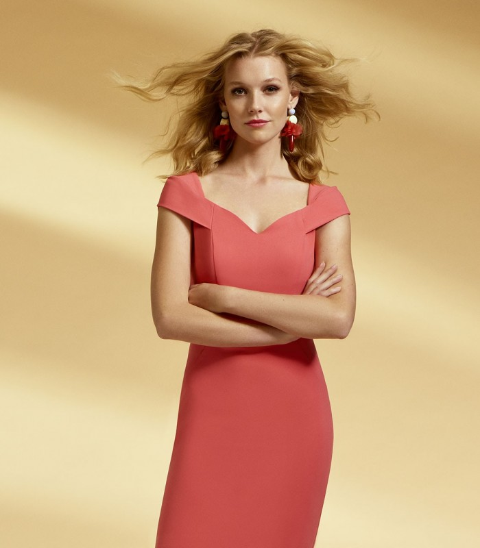 Salmon straight dress with sweetheart neckline