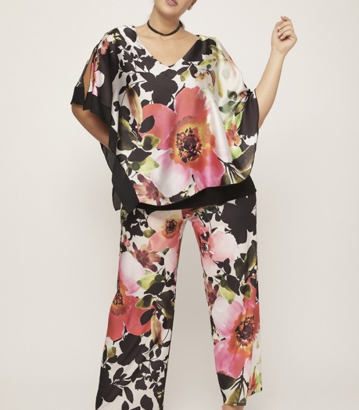 Printed asymmetric cape blouse