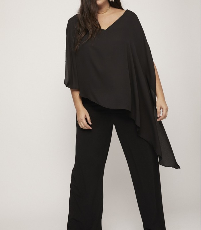 Black asymmetric cape jumpsuit