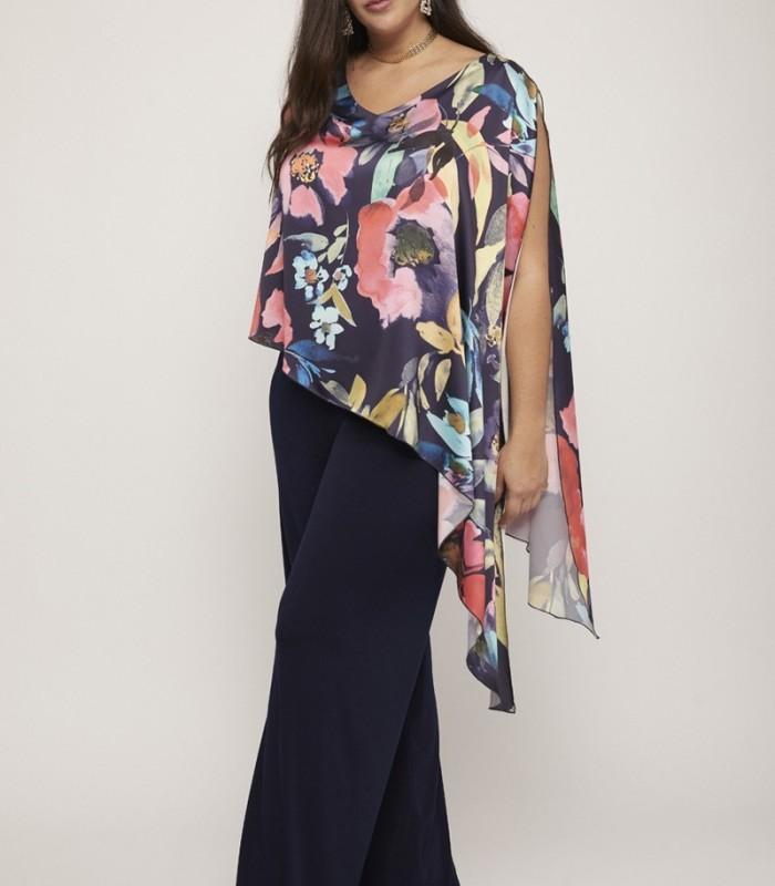 Floral print asymmetric cape long jumpsuit