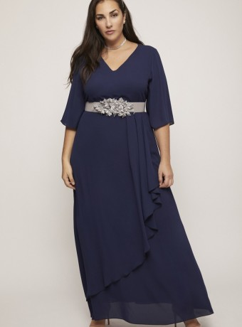 Long 3/4 sleeve dress with asymmetric cape with belt