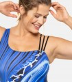Blue and black print swimsuit