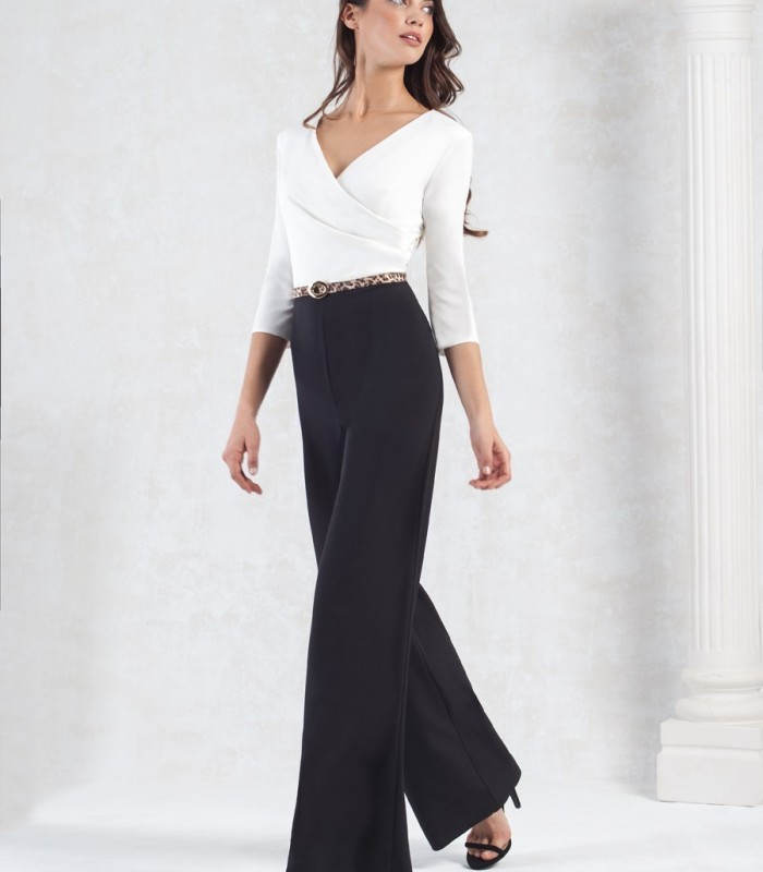 Black and white jumpsuit with crossed neckline