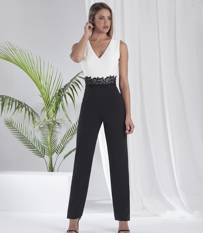 Black and white jumpsuit with v-neckline and lace belt