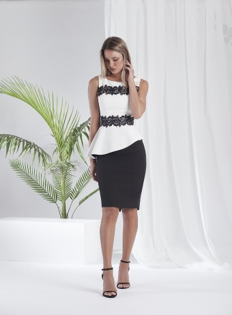 Black and white peplum midi dress