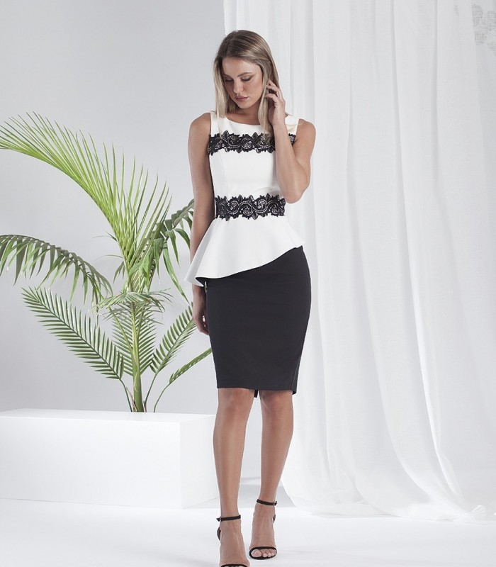 Black and white peplum midi dress