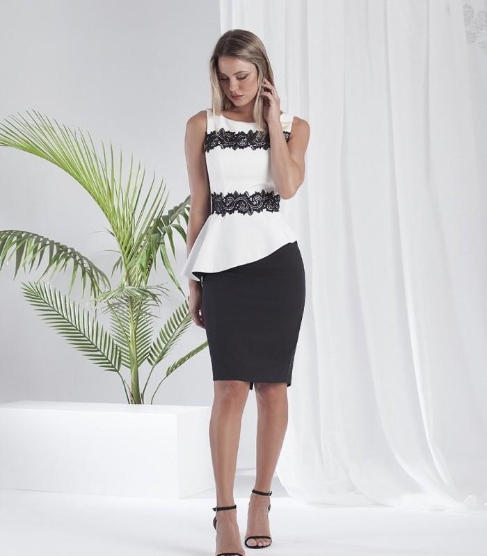 Vestido midi peplum blanco y negro