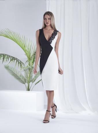 Vestido blanco y negro escote cruzado