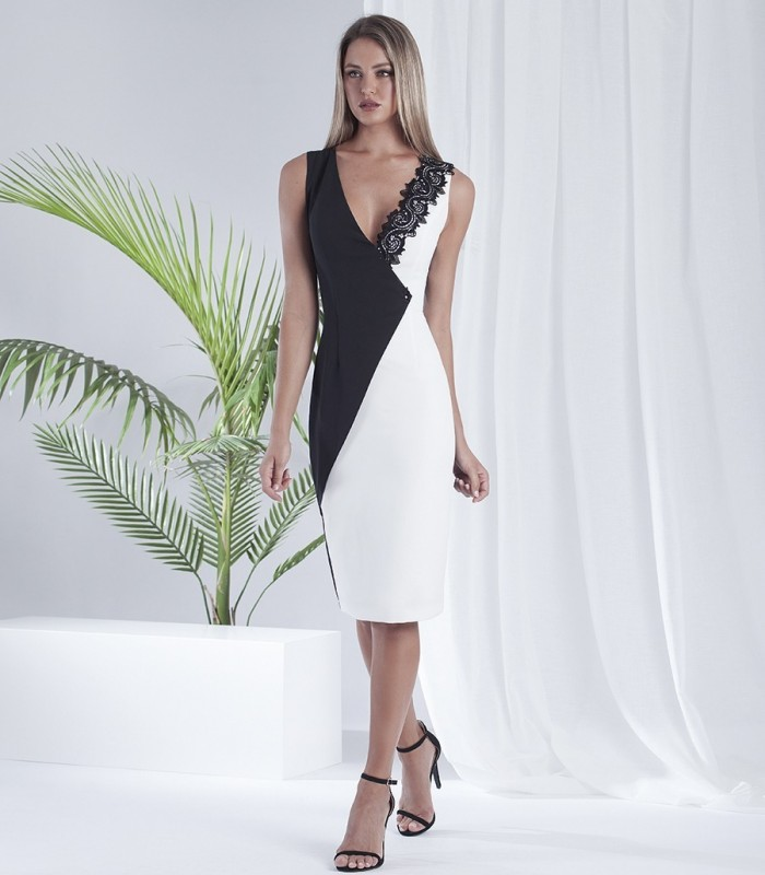 Black and white dress with crossed neckline