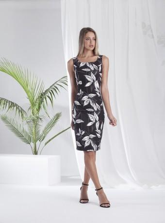 Vestido corto estampado de hojas