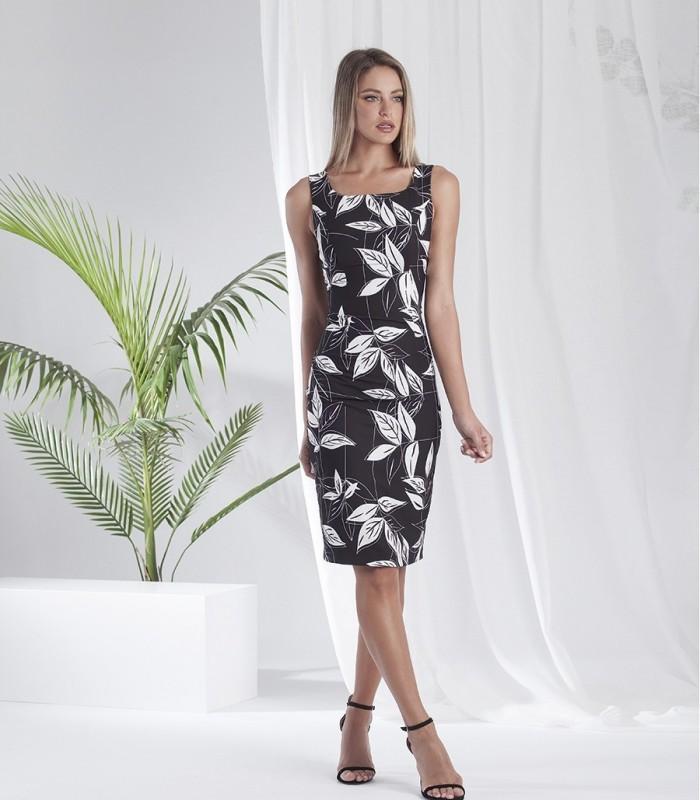Leaf print short dress