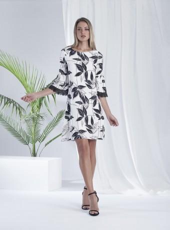 Flared leaves print dress