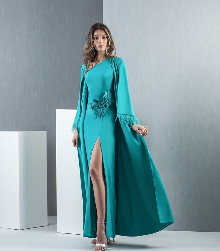 Long green water dress and tunic with feathers