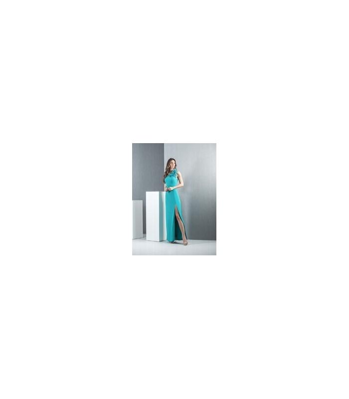 Vestido largo verde agua y  túnica con plumas