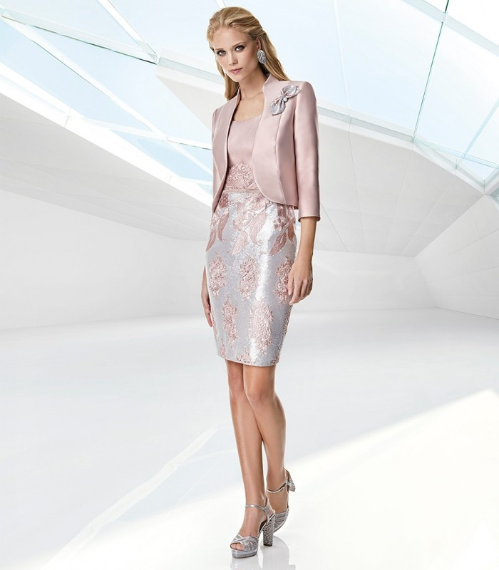 Sonia Peña embroidered pink jacket and dress