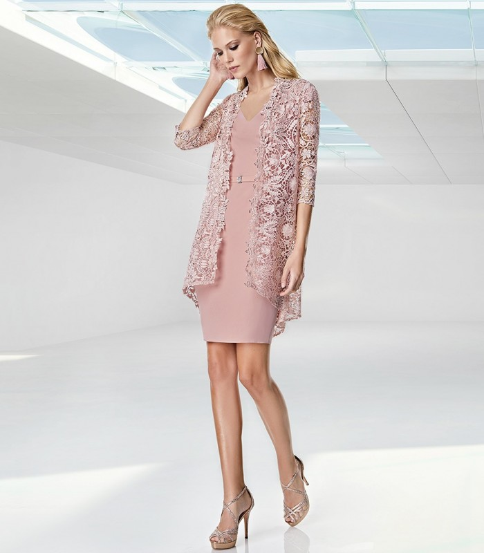 Dress with asymmetric lace frock coat