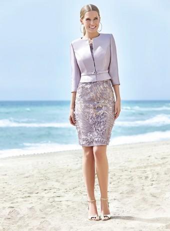 Mauve jacket and straight dress set Sonia Peña