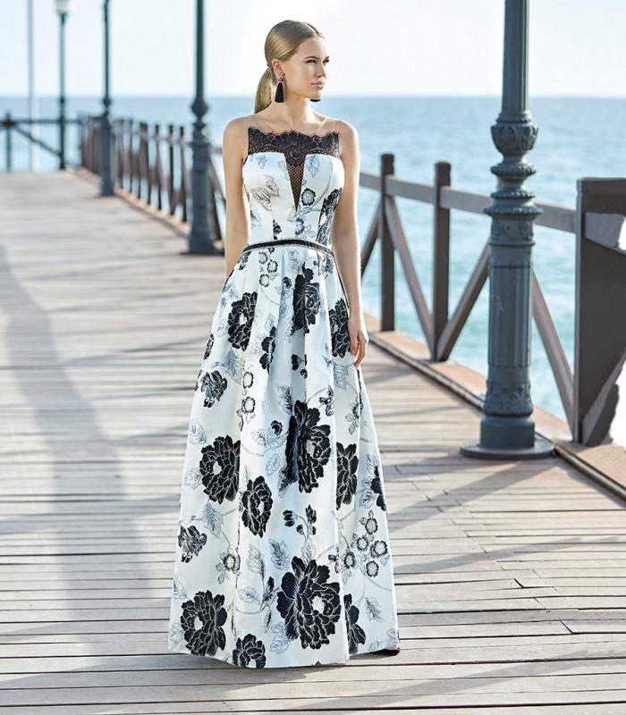 Vestido largo Jackard estampado Sonia Peña