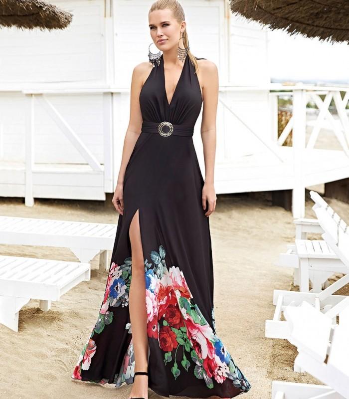 Vestido largo negro y estampado anudado al cuello