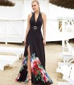 Black long dress with print and knotted at the neck