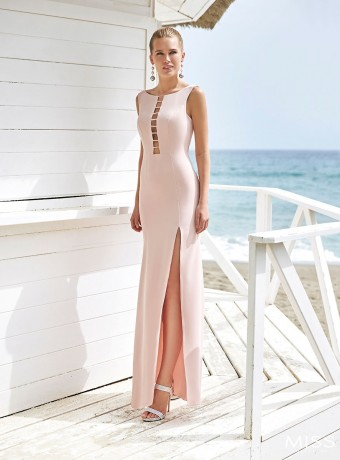 Miss long nude dress with side slit