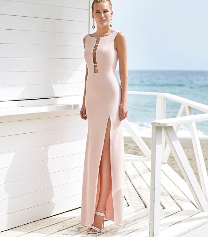 Vestido largo nude con abertura lateral Miss