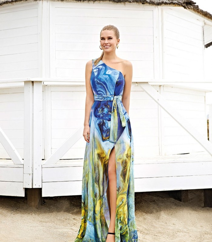 Long printed dress with asymmetric neckline Miss