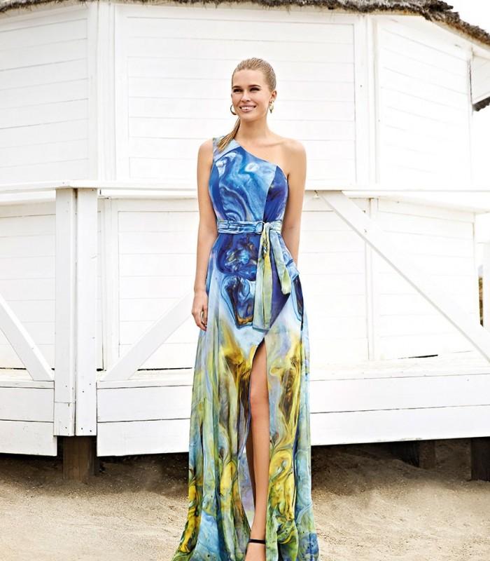 Vestido largo escote asimétrico estampado Miss