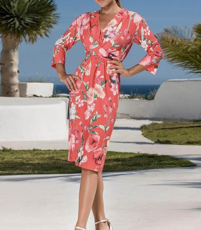 Olimara print dress with wrap neckline