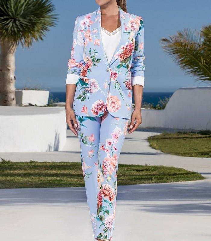Olimara printed blazer and pants suit