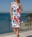 Vestido corto estampado floral cuello barco