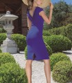 Short V-back dress with flowers