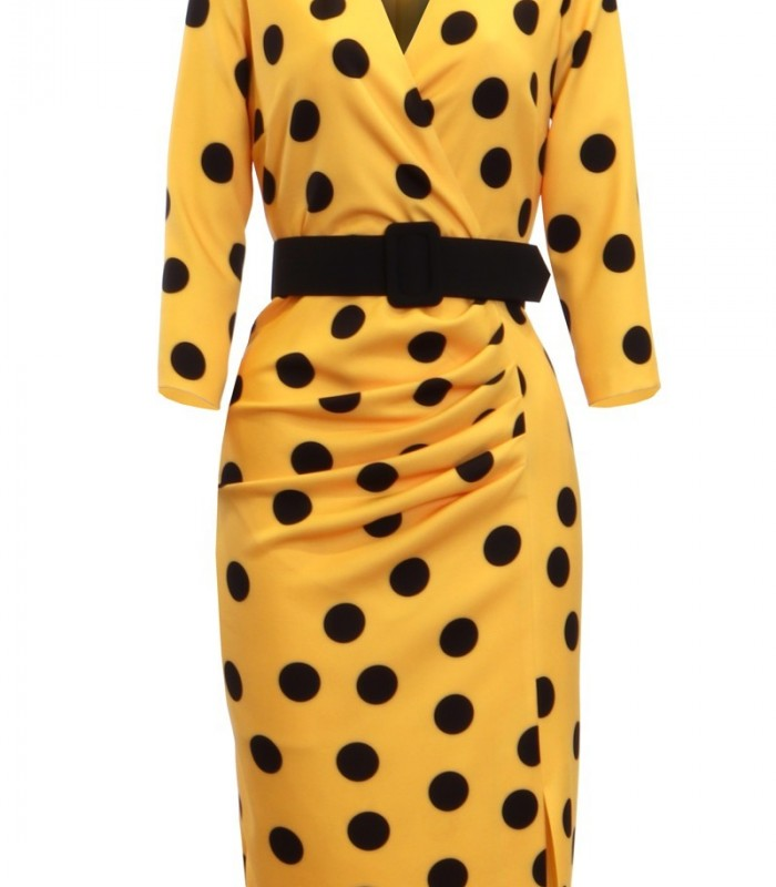 Polka dot dress with yellow background