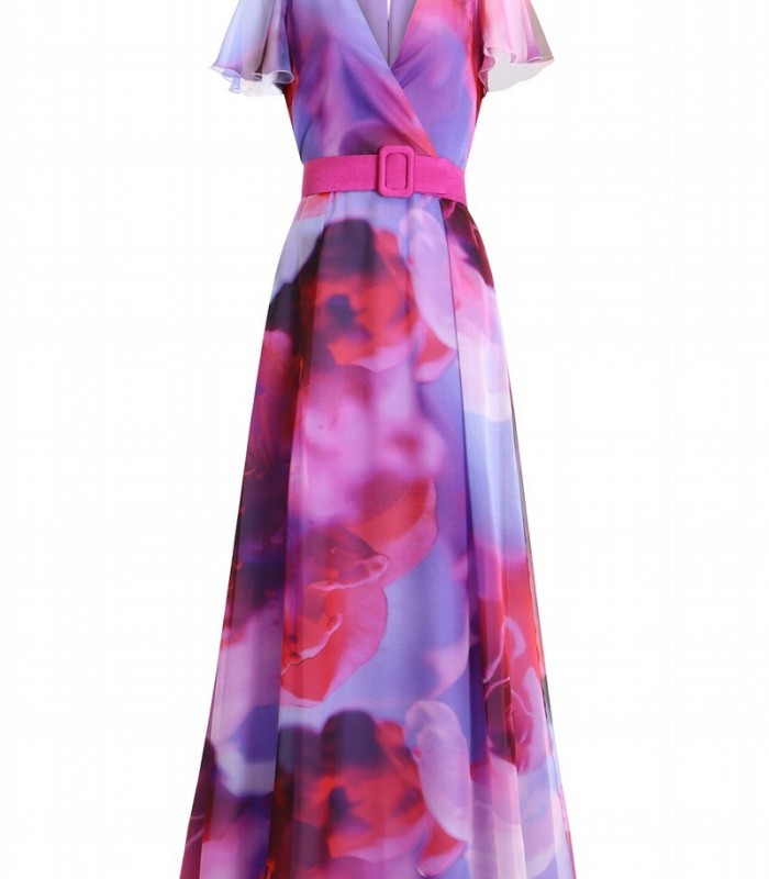 Olimara floral print dress with wrap neckline