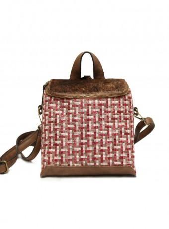 mochila cuadros rosa