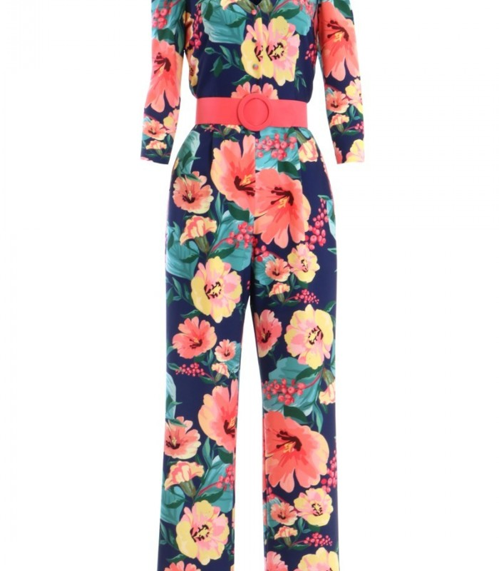 Olimara printed jumpsuit with French sleeve