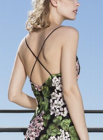 Print maxi dress with thin stripes
