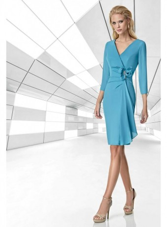 Turquoise Ruched Waist Short Dress