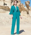 Plain jumpsuit with sequin belt