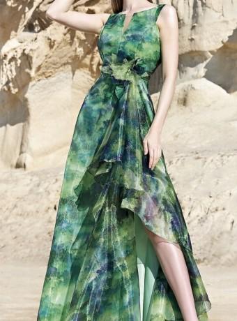 vestido largo estampado con volante y abertura lateral