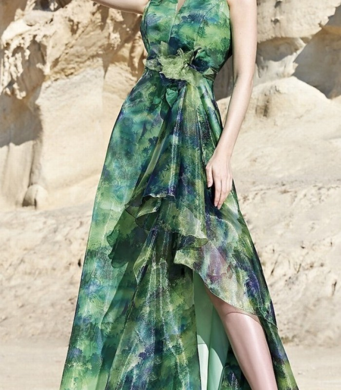 Printed long dress with ruffle and side slit