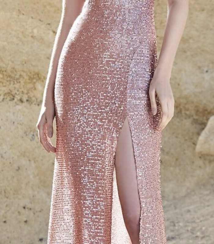 Long dress with round neckline and side slit