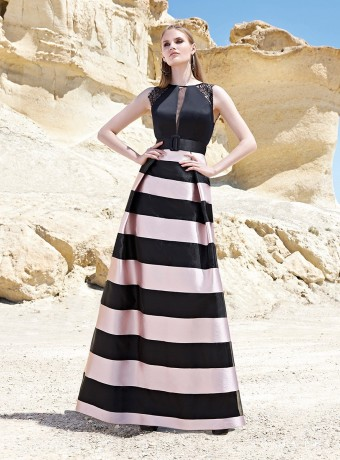 Pink and black striped maxi dress