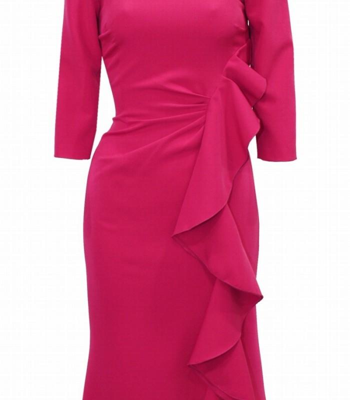 Ruffle peplum dress gathered at the waist