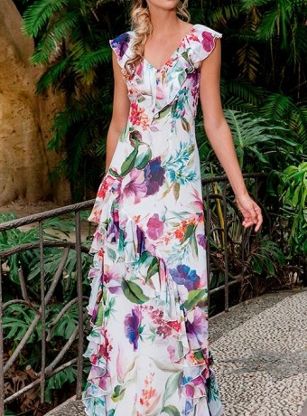 Asymmetric print dress with ruffle neck