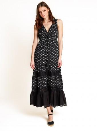 Vestido de lunares con encaje en la falda